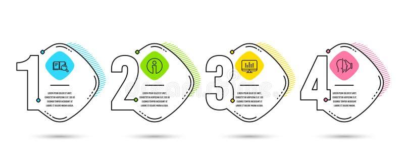 Книга информации, поиска и музыка делая значки Знак id стороны Информация, онлайн образование, Dj app Скеннирование телефона вект иллюстрация вектора
