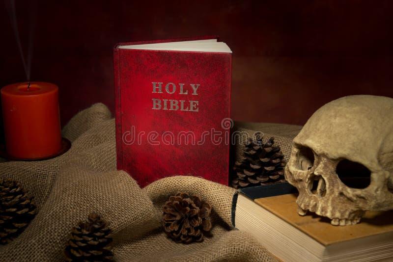 Книга и dkull библии натюрморта красные стоковые изображения