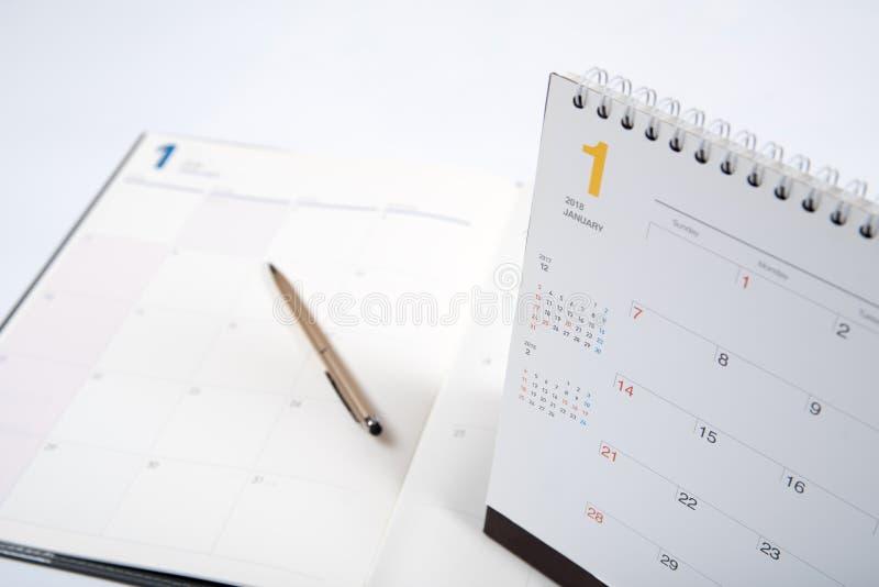 книга план-графика 2018 год с календарем стоковая фотография