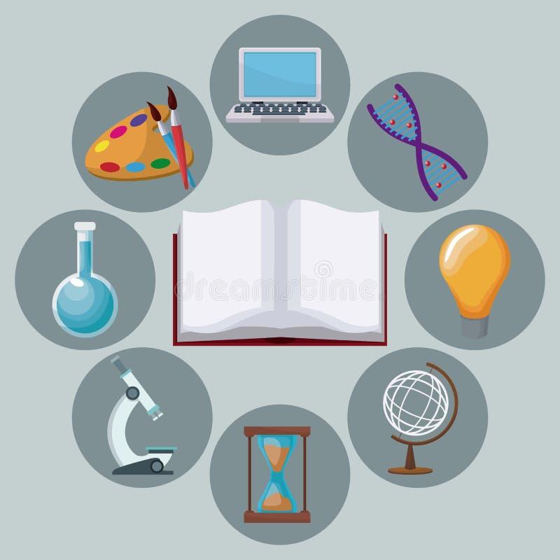 Книга предпосылки цвета открытая с знанием значков академичным вокруг иллюстрация штока