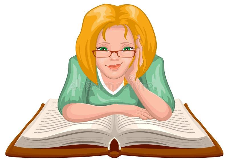 книга предпосылки создала женщину чтения ps Молодая женщина в стеклах установила его руки на открытой книге иллюстрация вектора
