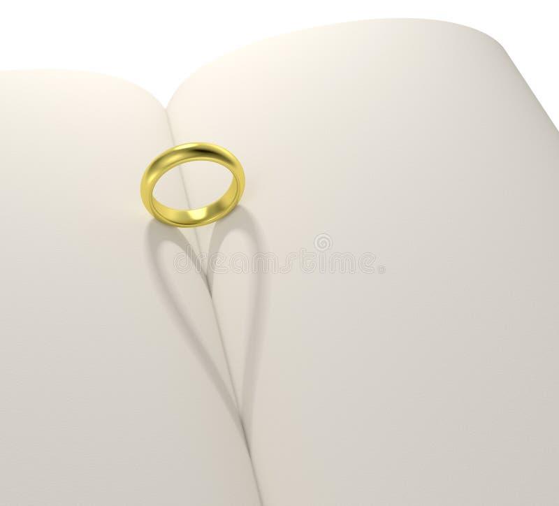 Книга пробела тени формы сердца кольца золота иллюстрация вектора