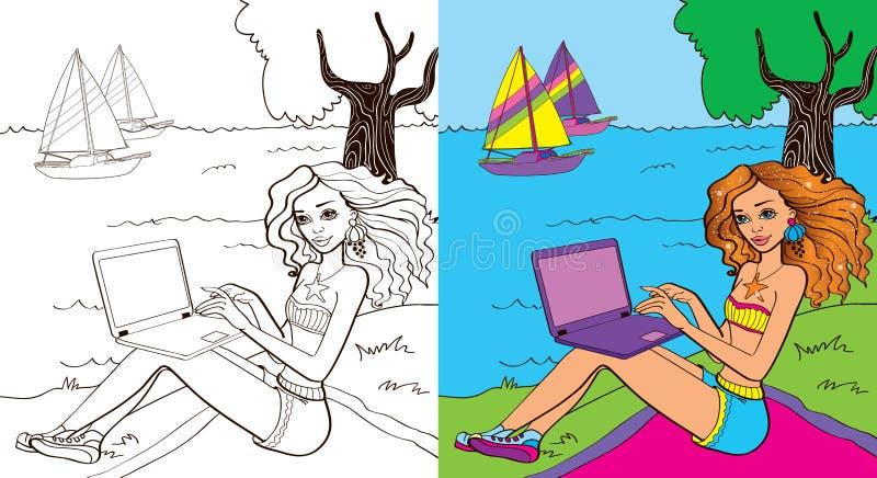 Книга расцветки девушки около моря иллюстрация штока