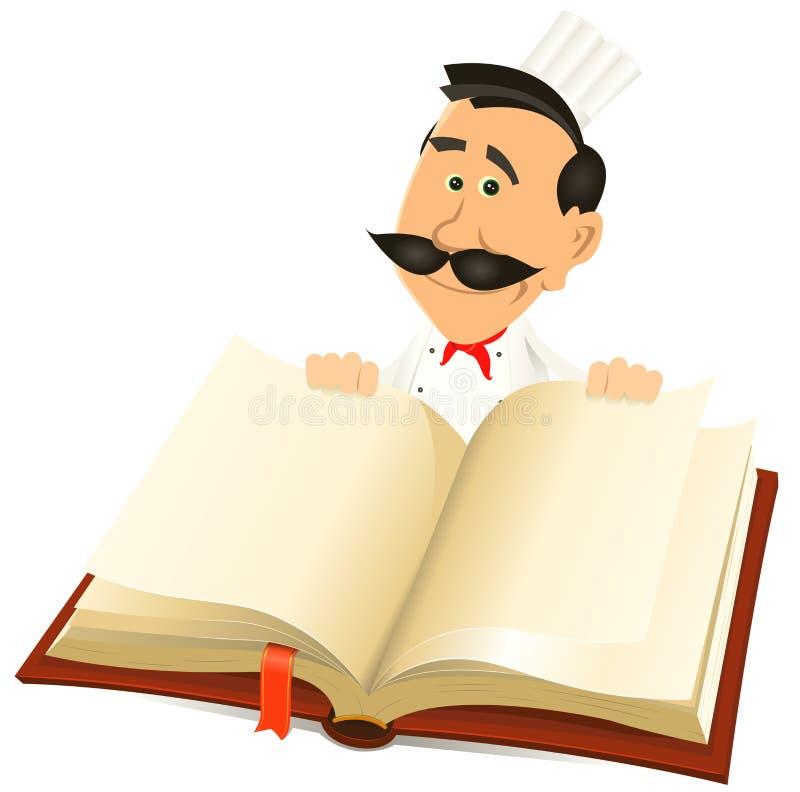 Книга рецептов удерживания кашевара шеф-повара иллюстрация штока