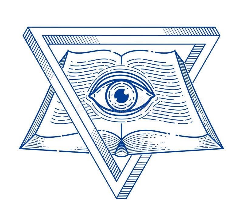 Книга секретного знания винтажная открытая с полностью видя глазом бога в священных треугольнике геометрии, проницательности и пр иллюстрация вектора