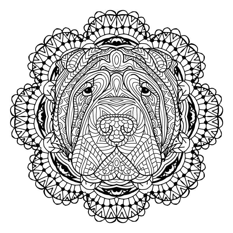 Книга собаки Голова собаки Sharpay на картине предпосылки круговой племенной Линия дизайн искусства иллюстрация штока