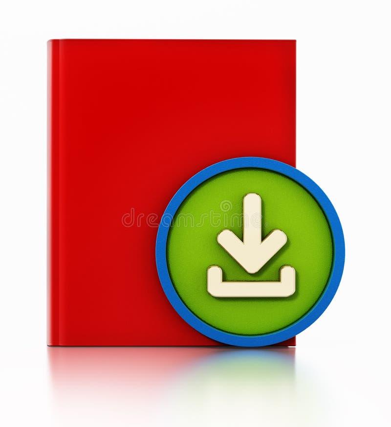 Книга со значком стрелки загрузки изолированным на белой предпосылке : иллюстрация вектора