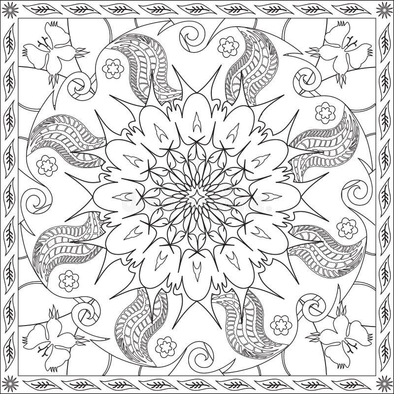 Книга страницы расцветки для иллюстрации вектора дизайна бабочки мандалы формата квадрата взрослых флористической бесплатная иллюстрация