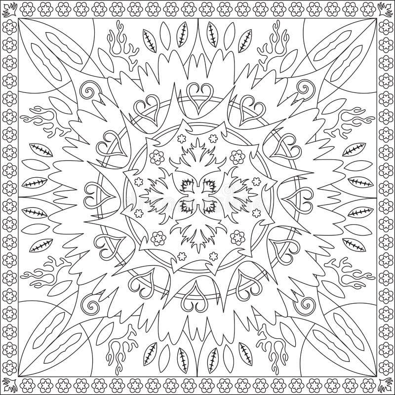 Книга страницы расцветки для иллюстрации вектора дизайна мандалы формата квадрата взрослых флористической бесплатная иллюстрация