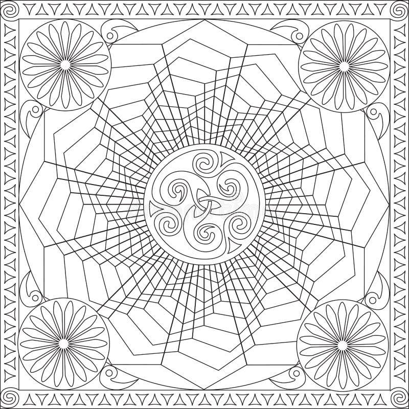 Книга страницы расцветки для иллюстрации вектора дизайна мандалы цветка формата квадрата взрослых геометрической иллюстрация штока