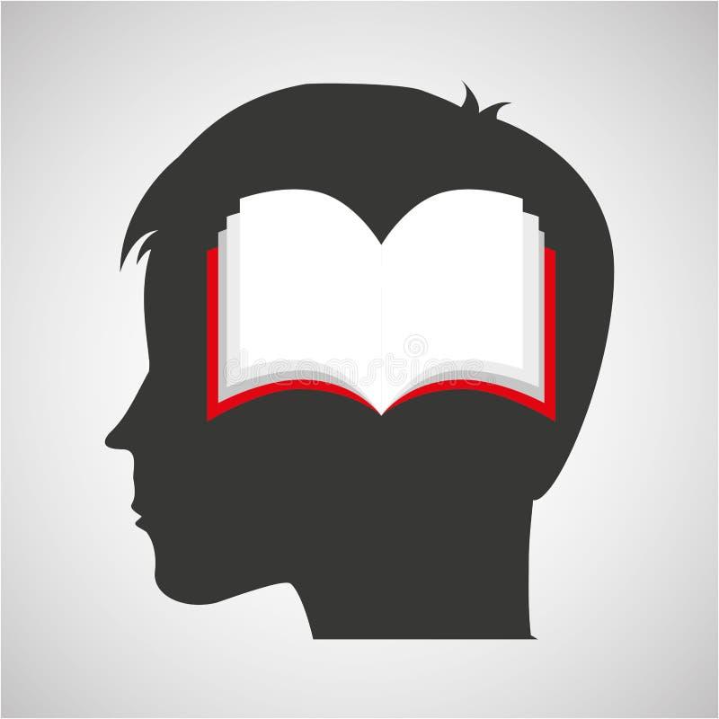 Книга студента головного мальчика силуэта открытая иллюстрация вектора
