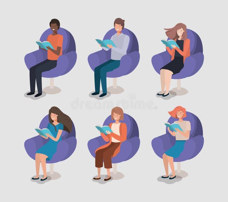 Книга чтения группы людей в софе иллюстрация вектора