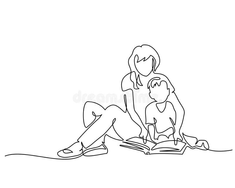 Книга чтения матери и сына концепции семьи иллюстрация вектора