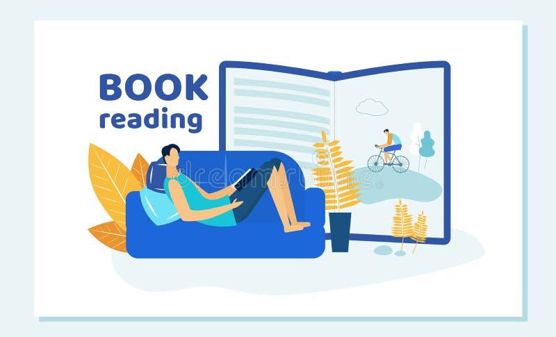 Книга чтения молодого человека лежа на софе дома иллюстрация вектора