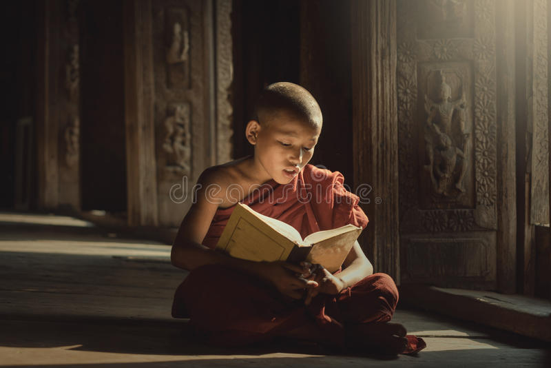 Книга чтения послушника с освещением стоковые фото