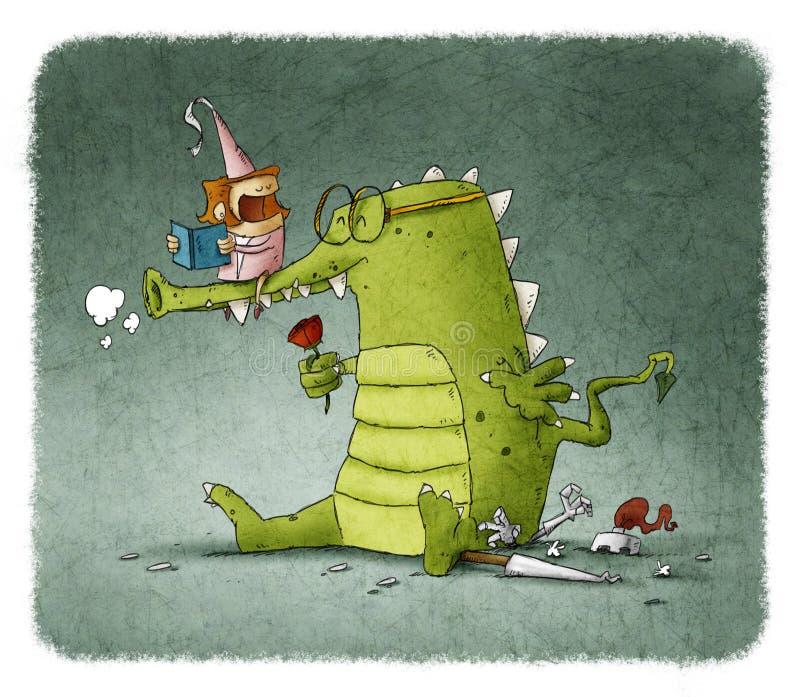 Книга чтения принцессы к дракону с подняла иллюстрация штока