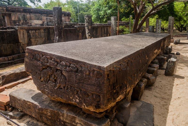 Книга Gal Pota каменная на древнем городе Polonnaruwa, Lan Sri стоковая фотография