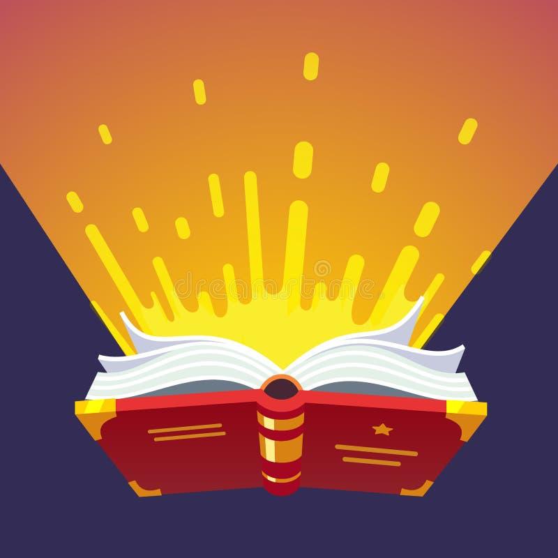 Книга Opened накаляя волшебная иллюстрация штока