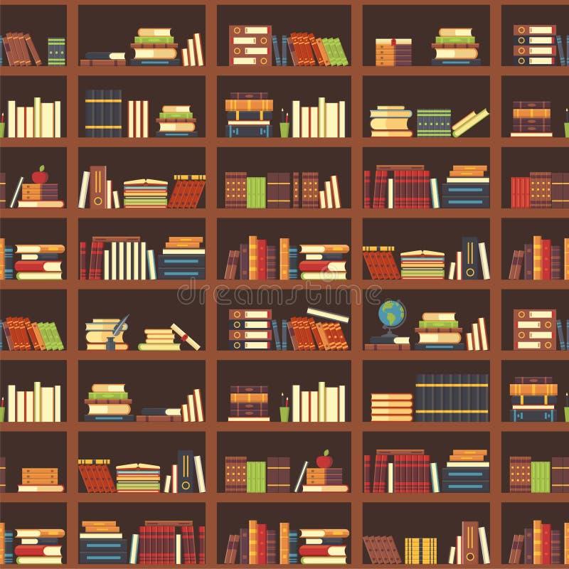 Книги в картине bookcase безшовной Учебник, учебник науки и кассеты на книжных полках Вектор учебников коллежа иллюстрация вектора