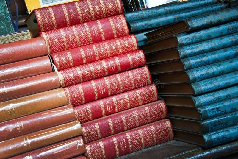 Книги год сбора винограда кожаные стоковое фото rf