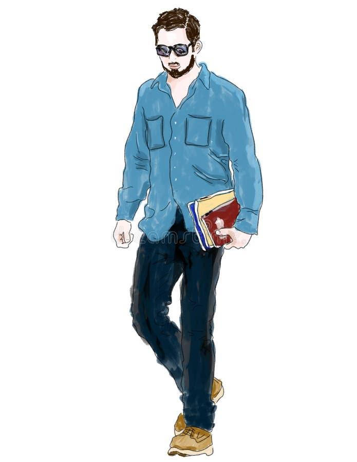 книги держа человека нумеруют гулять бесплатная иллюстрация