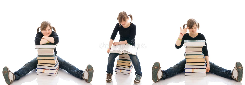 книги изолировали детенышей студента 3 стоковые изображения rf