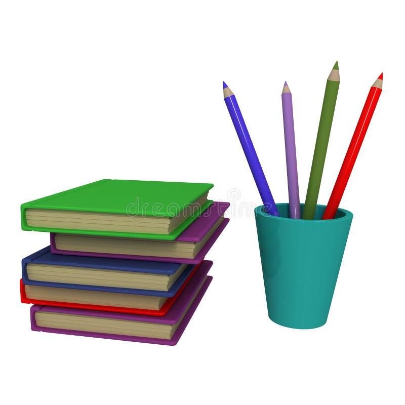 Книги и карандаши стоковое изображение rf