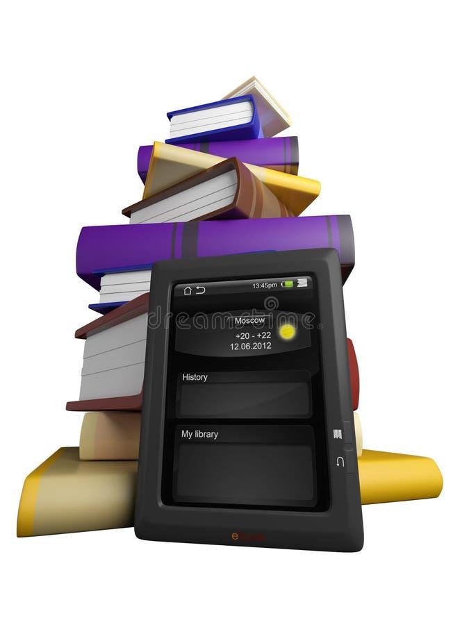 Книги летают в вашу таблетку иллюстрация вектора