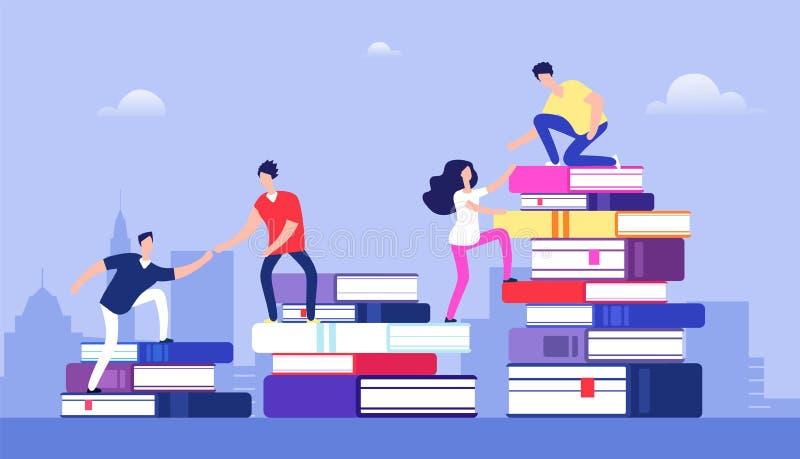 Книги людей взбираясь Успех в бизнесе, уровень образования и штат и развитие искусства vector концепция иллюстрация вектора