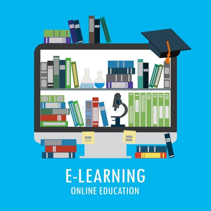 Книги, микроскоп, пробирки на экране монитора, онлайн библиотеке бесплатная иллюстрация