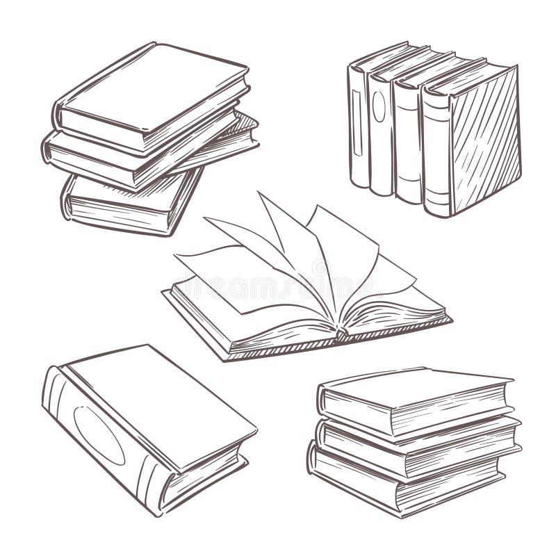 Книги нарисованные рукой винтажные Кучи книги эскиза Библиотека, элементы дизайна вектора книжного магазина ретро изолированные н иллюстрация вектора