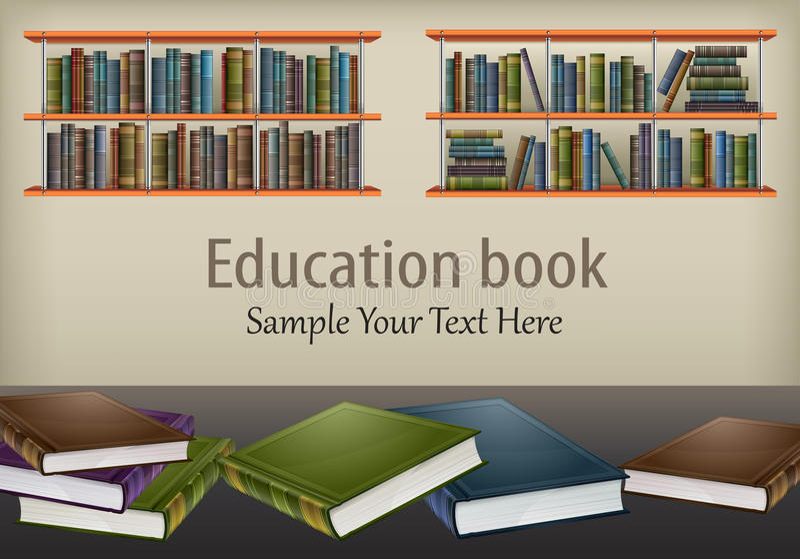 Книги на таблице и полках & тексте иллюстрация штока