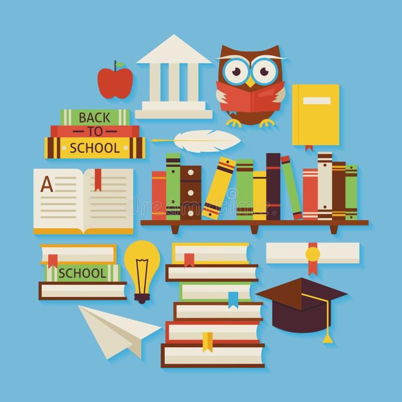 Книги образование и круг форменный o дизайна вектора знания плоский иллюстрация штока