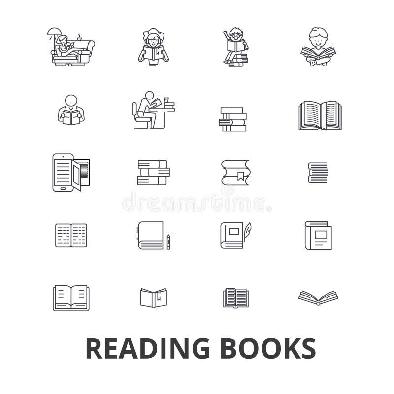 Книги, открытая книга, стог книг, книжные полки, библиотека, прочитали, книга чтения, бумажная линия значки Editable ходы плоско бесплатная иллюстрация