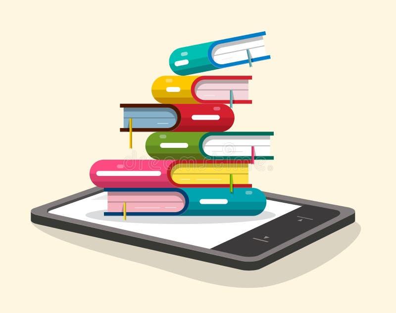 Книги складывают с читателем EBook иллюстрация вектора