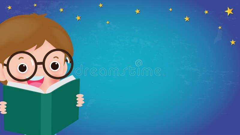 Книги чтения детей, задняя часть в школу, концепция образования, шаблон для брошюры рекламы, ваш текст, дети и рамка, ребенок и р иллюстрация вектора