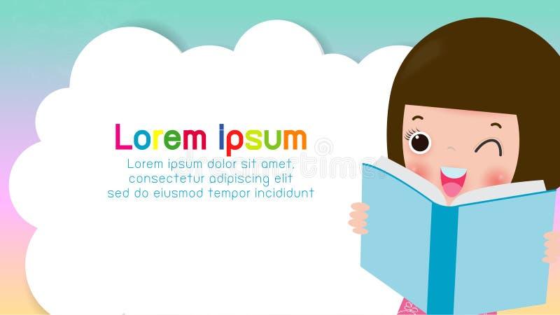 Книги чтения детей, задняя часть в школу, концепция образования, шаблон для брошюры рекламы, ваш текст, дети и рамка, ребенок и р иллюстрация штока
