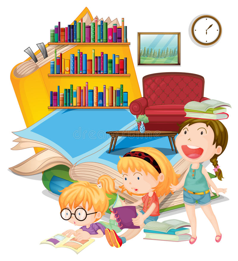 3 книги чтения девушек совместно бесплатная иллюстрация