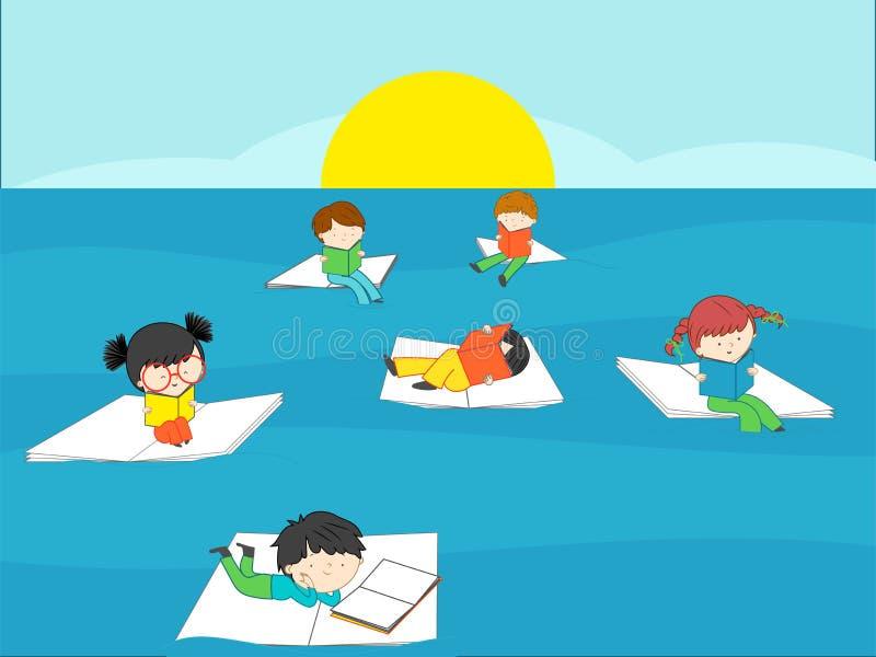 Книги чтения детей в голубом море на летних каникулах стоковое фото