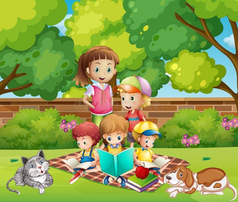 Книги чтения детей в саде иллюстрация штока