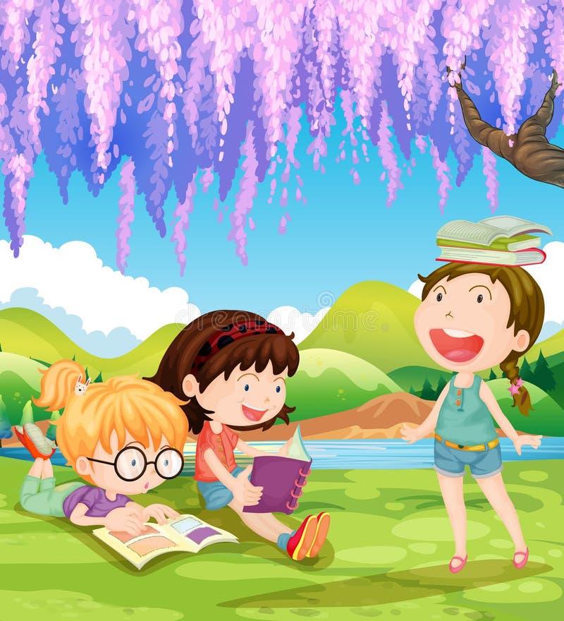 Книги чтения детей под деревом иллюстрация вектора