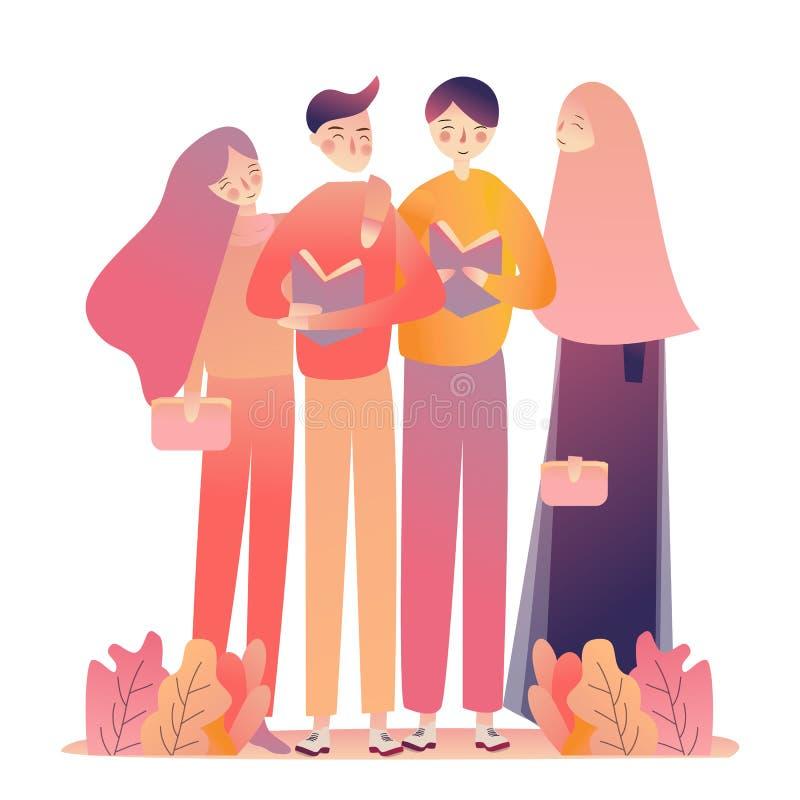 Книги чтения женщин молодого человека друзей Стоять учащ совместно Вуаль голов-шарфа ислама мусульманская нося иллюстрация вектора
