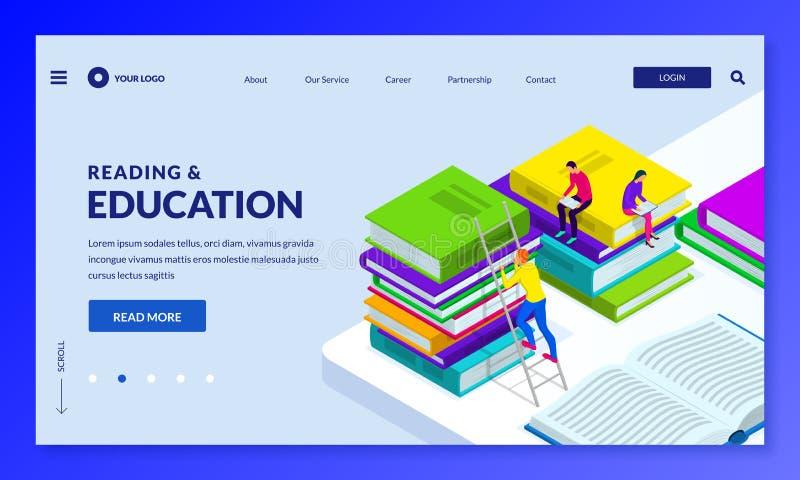 Книги чтения людей Иллюстрация вектора равновеликая Приземляясь шаблон страницы или дизайна знамени Темы образования и исследован иллюстрация вектора