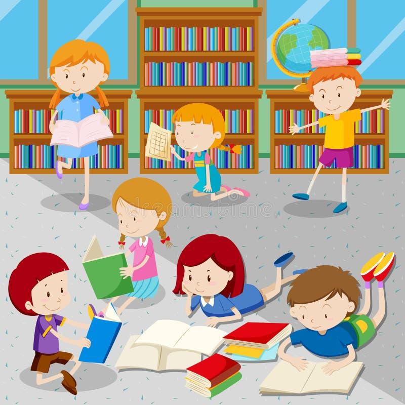 Книги чтения студентов в библиотеке бесплатная иллюстрация