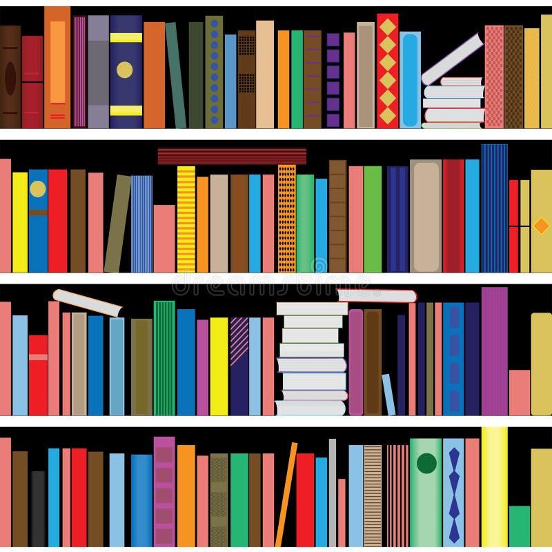 Книги vector безшовная текстура вертикально и горизонтально Предпосылка книжных полок иллюстрация вектора