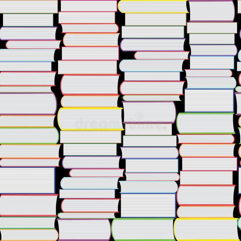 Книги vector безшовная текстура вертикально и горизонтально Предпосылка книжных полок иллюстрация штока