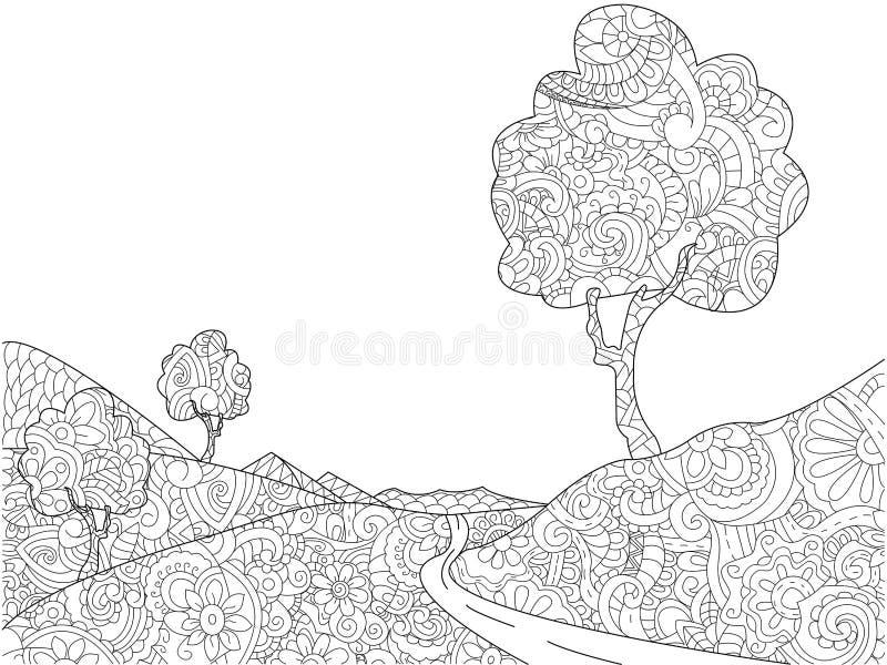 Книжка-раскраска ландшафта для вектора взрослых иллюстрация штока
