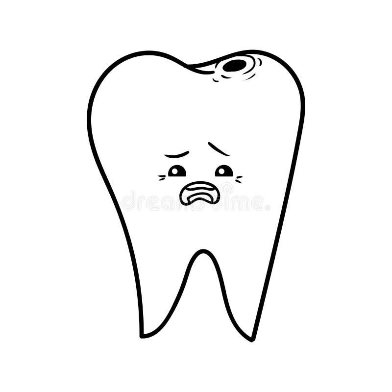 Книжка-раскраска, больной зуб иллюстрация штока