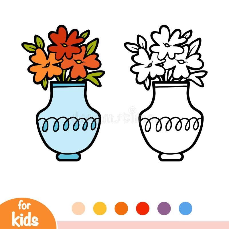 Книжка-раскраска, ваза и цветки иллюстрация вектора