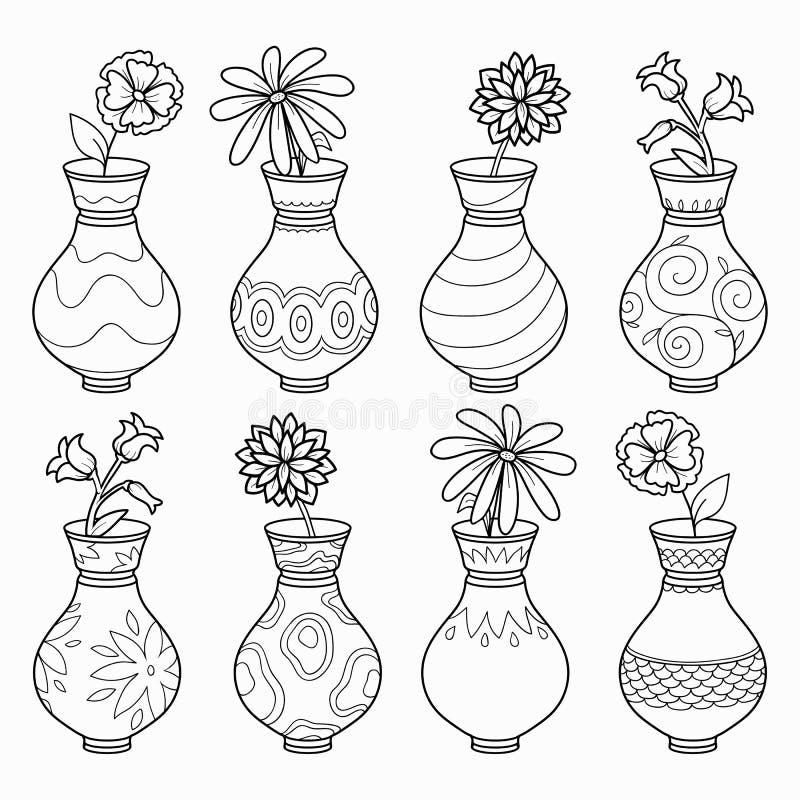 Книжка-раскраска (вазы с цветками), vector бесцветный комплект иллюстрация вектора
